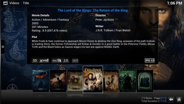 Zu Filmen werden Zusatzinfos wie der Regisseur, Schauspieler und Kurzbeschreibungen abgerufen. (Bild: xbmc.org)