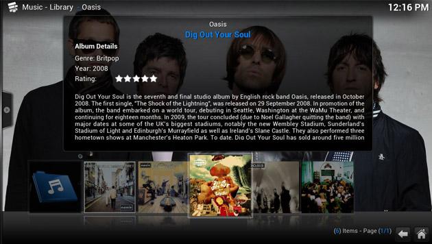 Bei Musikalben holt sich XBMC automatisch Cover und Zusatz-Infos aus dem Internet. (Bild: xbmc.org)