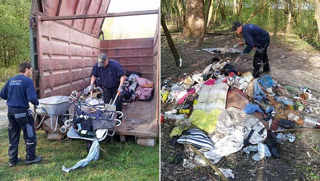 Bettler-Camp in Tirol geräumt: Müll blieb zurück (Bild: Andreas Moser)