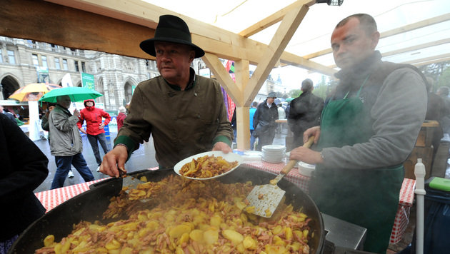 Steiermarkdorf gastiert am Wiener Rathausplatz (Bild: APA/HERBERT PFARRHOFER)