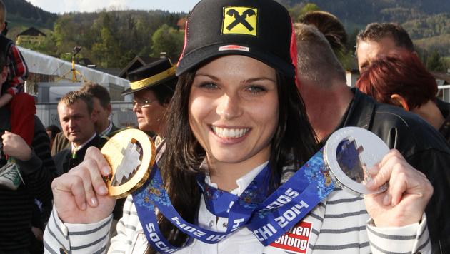 Adnet feierte Olympiasiegerin Anna Fenninger (Bild: APA/NEUMAYR/PROBST)
