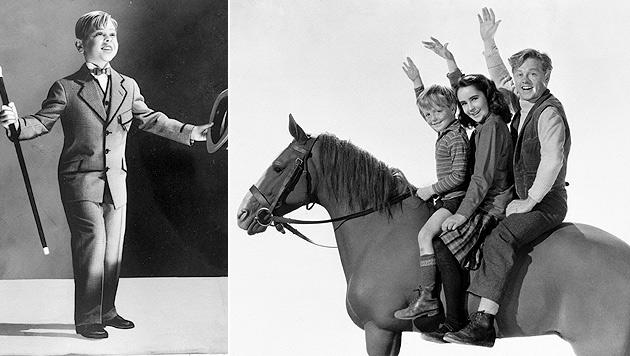 """Rooney als Kinderstar und mit Liz Taylor und Butch Jenkins in """"Kleines Mädchen, Großes Herz"""". (Bild: AP)"""