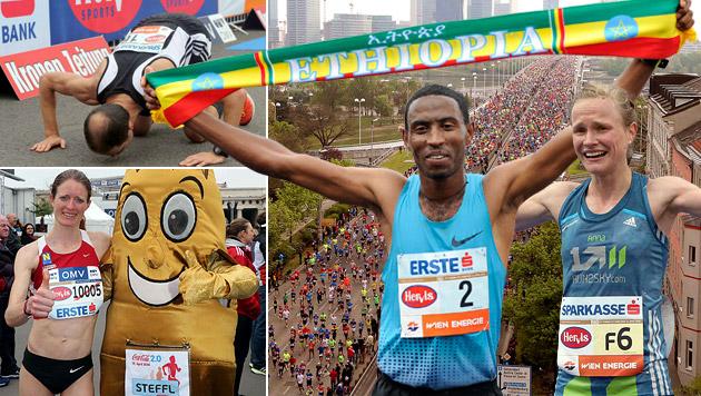 600.000 feierten Marathon der Rekorde in Wien (Bild: AP, Gerhard Gradwohl, krone.at-Grafik)