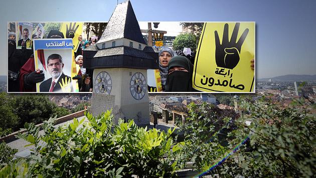Ägyptens Muslimbrüder: Bald Hauptquartier in Graz? (Bild: APA/HANS KLAUS TECHT, APA/EPA/KHALED ELFIQI, krone.at-Grafik)