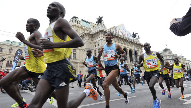 Getu Feleke gewinnt in Wien mit Rekordzeit (Bild: APA/HANS PUNZ)