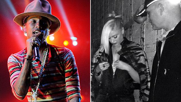 Gemeinsam mit Pharrell Williams auf der Bühne: Gwen Stefani beim Coachella. (Bild: Chris Pizzello/Invision/AP, twitter.com)