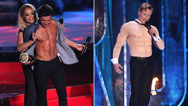 Zac Efron bewies, dass er den Preis für den besten Oberkörper verdient. Conan O'Brien muss tricksen. (Bild: Matt Sayles/Invision/AP)