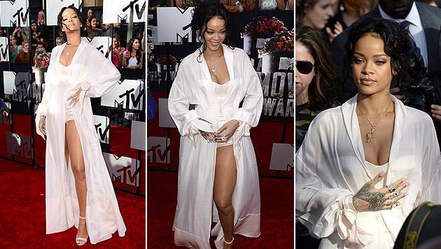 Rihanna erschien in einem aufregenden Outfit. (Bild: Jordan Strauss/Invision/AP, APA/EPA/MICHAEL NELSON)