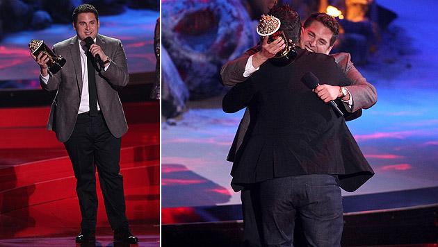 """Jonah Hill erhielt den Preis für die beste Comedy-Performance in """"The Wolf of Wall Street"""". (Bild: Matt Sayles/Invision/AP)"""