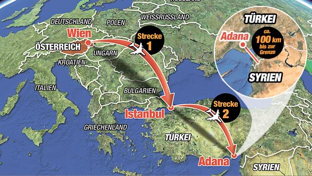 So zogen Sabina S. (15) und Samra K. (16) aus Wien in den Dschihad. (Bild: Krone-Grafik)