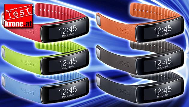Fitness-Coach fürs Handgelenk: Gear Fit im Test (Bild: Samsung, thinkstockphotos.de, krone.at-Grafik)