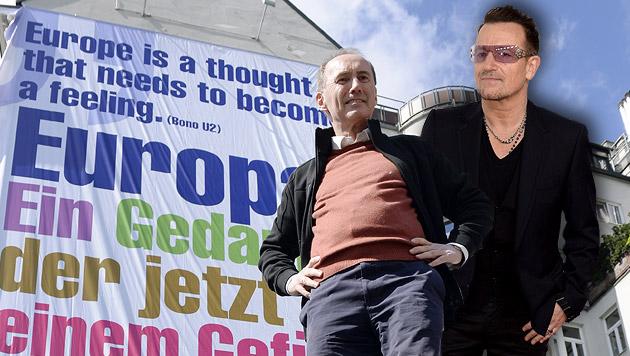Karas verärgert U2-Frontmann Bono mit EU-Plakat (Bild: APA/HANS KLAUS TECHT, APA/EPA/MICHAEL NELSON, krone.at-Grafik)