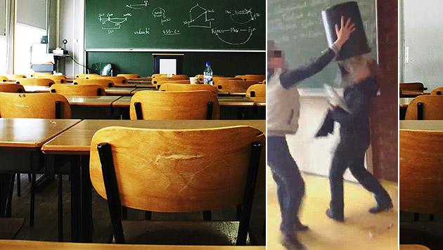 Schüler stülpt Mistkübel über Lehrerin (Bild: privat, thinkstockphotos.de)