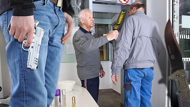 418 Schusswaffen bei Zutrittskontrollen abgenommen (Bild: Christian Forcher, Andreas Graf, Polizei, krone.at-Grafik)