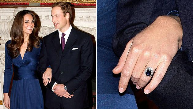Diese Bilder gingen 2010 um die Welt: Kate, William und Dianas Ring. (Bild: STR/EPA/picturedesk.com)