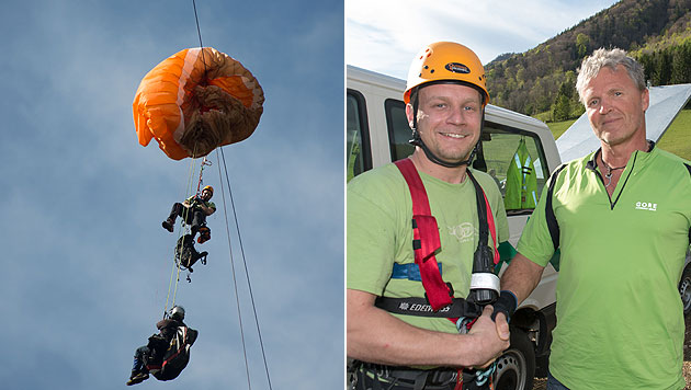 Joachim Gruber (rechts) bedankte sich bei Retter Roland Hatzenbichler nach dem gefährlichen Einsatz. (Bild: Werner Kerschbaummayr)