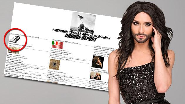 "Conchita schafft""s als Topstory auf US-Newsseite (Bild: Screenshot drudgereport.com, ORF/Thomas Ramstorfer)"