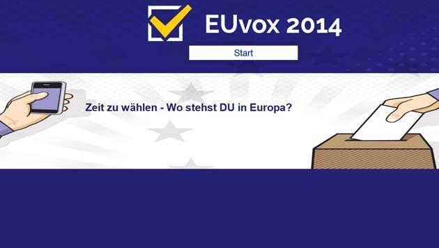 EU-Wahl: Online-Tool dient als Entscheidungshilfe (Bild: www.euvox.eu/at)