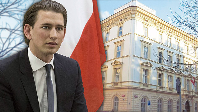 Kurz und die österreichische Botschaft in Prag (Bild: APA/EPA/ABIR SULTAN, bmeia.gv.at/Richard Gerstenecker)