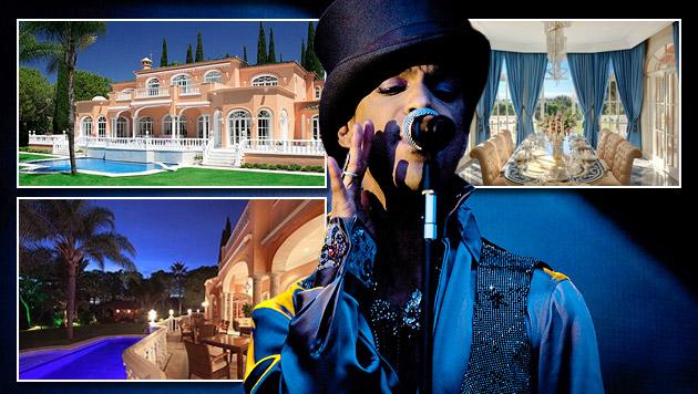 Popstar Prince verkauft seine Traumvilla (Bild: AP, luxuryestate.com, krone.at-Grafik)
