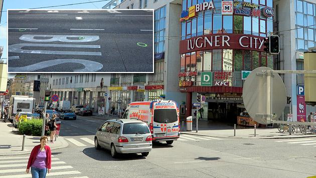 Vor der Lugner City in Wien-Fünfhaus wurden drei Jugendliche auf offener Straße niedergeschossen. (Bild: Florian Hitz)