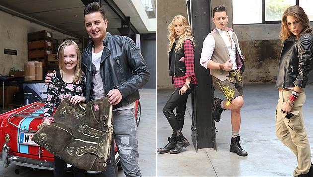 """""""Zuerst die Fans, dann die Arbeit."""" Andreas mit Fan Kerstin und als Model. (Bild: Sepp Pail)"""
