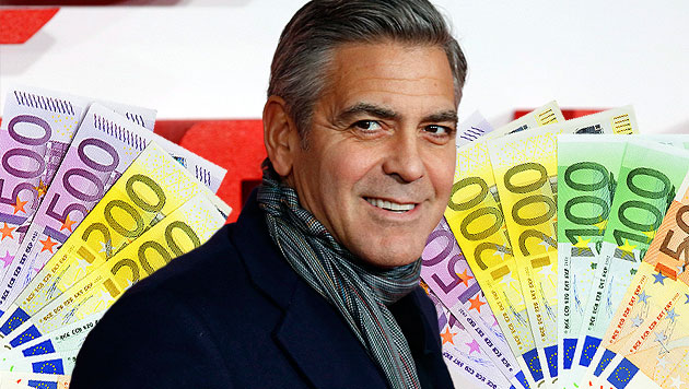 Heiratet George Clooney, verliert er 96.000 Euro (Bild: APA/EPA/TAL COHEN, thinkstockphotos.de, krone.at-Grafik)