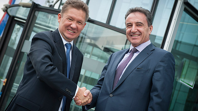 OMV-Chef Gerhard Roiss (re.) und Gazprom-Chef Alexej Miller (li.) (Bild: OMV)