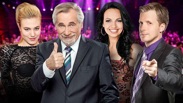 """""""Große Chance""""-Jury: Marolt, Pocher, Frey und Rapp (Bild: ORF/Milenko Badzic/Thomas Ramstorfer/Ali Schafler/Boris Breuer)"""