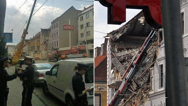 Hauseinsturz in Wien: Abbrucharbeiten in Endphase (Bild: Leserreporter Carl Shirvanian, Leserreporter Michael Neunteufel)