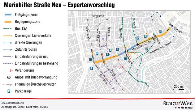 """Zusätzliche Querung für Autoverkehr auf der """"Mahü"""" (Bild: APA/Grüne)"""