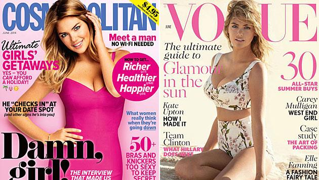 """Kate Upton auf dem Cover der """"Cosmopolitan"""" und der """"Vogue"""". (Bild: Cosmopolitan, Vogue)"""