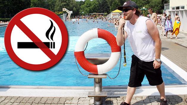 Rauchverbot in fünf Grazer Freibädern (Bild: Christian Jausowetz, thinkstockphotos.de, krone.at-Grafik)