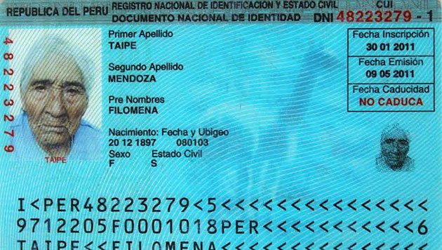 Der Personalausweis von Filomena Taipe Mendoza (Bild: www.pension65.gob.pe)