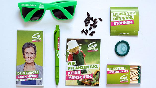 Die Grünen setzen auf Bio-Samen, Kondome und kompostierbare Kugelschreiber. (Bild: APA/GEORG HOCHMUTH)