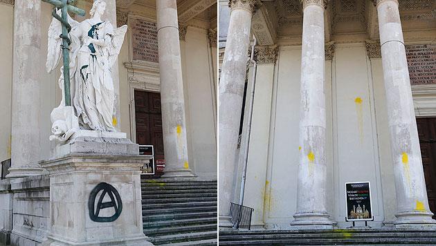 Wiener Karlskirche mit Schriftzügen beschmiert (Bild: Zwefo)