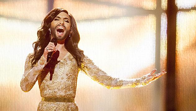 """""""Rise Like A Phoenik"""" schmettert Conchita Wurst für Österreich. (Bild: APA/EPA/NIKOLAI LINARES)"""