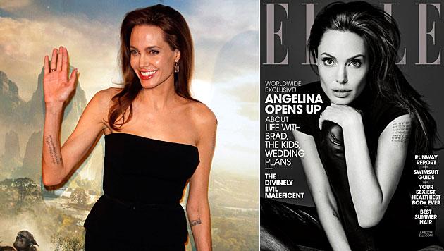 Jolie: Peinliche Puder-Panne am roten Teppich (Bild: AP, Elle)