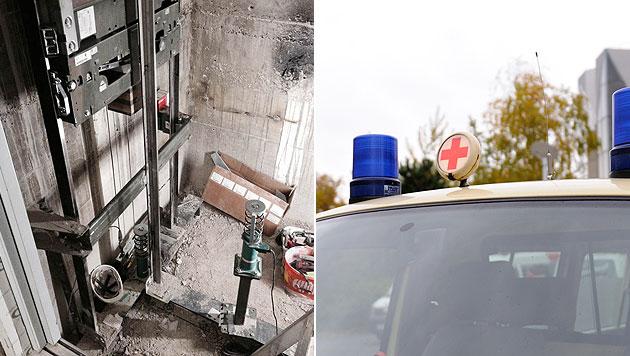 Arbeiter bei Unfall in Liftschacht schwer verletzt (Bild: Andreas Graf, Polizei)