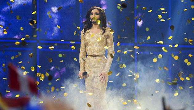 Goldener Konfetti-Regen für Conchita Wurst (Bild: AP)