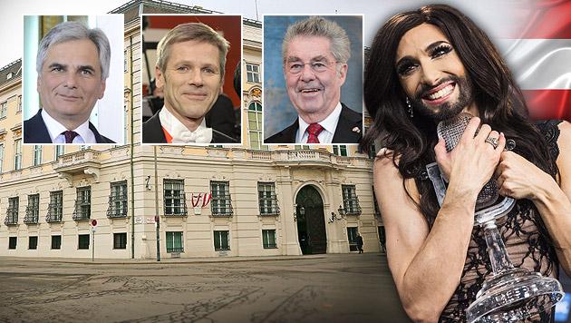 Faymann, Ostermayer, Fischer ehren Conchita Wurst für ihre Botschaft. (Bild: Martin A. Jöchl, APA/FOHRINGER, APA/HOCHMUTH, APA/EPA/PALSNOV)
