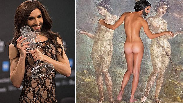 Conchita Wurst zeigt ihren nackten Popo. (Bild: TEAM[:]niel, APA/EPA/JOERG CARSTENSEN)