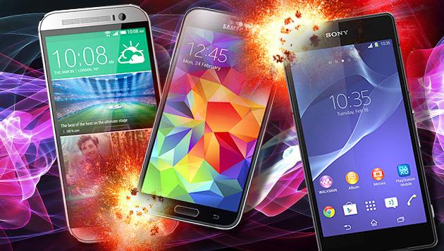Das waren die besten Smartphone-Neuheiten 2014 (Bild: HTC, Samsung, Sony, thinkstockphotos.de, krone.at-Grafik)