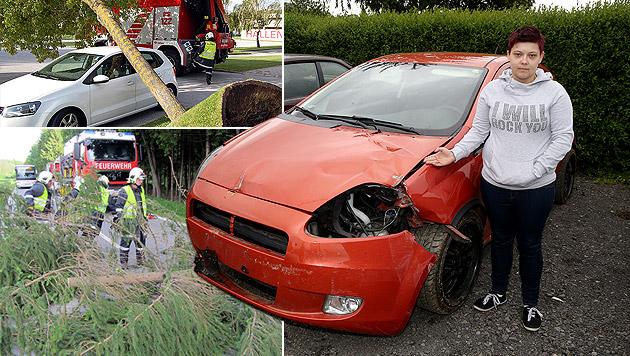 """Sturm """"Yvette"""" fegte sogar Auto von der Straße (Bild: APA/STADTFEUERWEHR PINKAFELD, Sepp Pail, krone.at-Grafik)"""