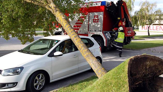 """Sturm """"Yvette"""" fegte sogar Auto von der Straße (Bild: APA/STADTFEUERWEHR PINKAFELD)"""