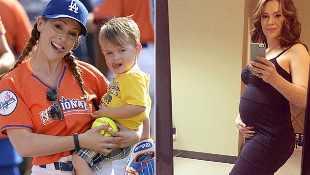 Alyssa Milanos Sohn Milo darf sich auf ein kleines Schwesterchen freuen. (Bild: EPA, instagram.com/milano_alyssa)