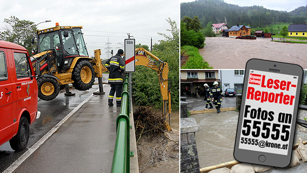 Katastrophenalarm wegen Starkregens im Landesosten (Bild: Pressestelle BFK Mödling, APA/FEUERWEHR GAMING, APA/BFKDO LF)