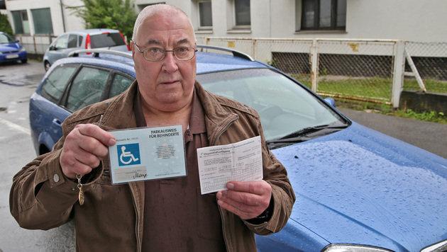 Mann fasst Parkstrafe trotz Behindertenausweis aus (Bild: Christof Birbaumer)