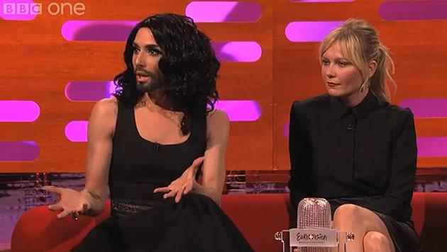 Conchita Wurst auf der Couch von Talk-Meister Graham Norton mit Kirsten Dunst. (Bild: YouTube.com)