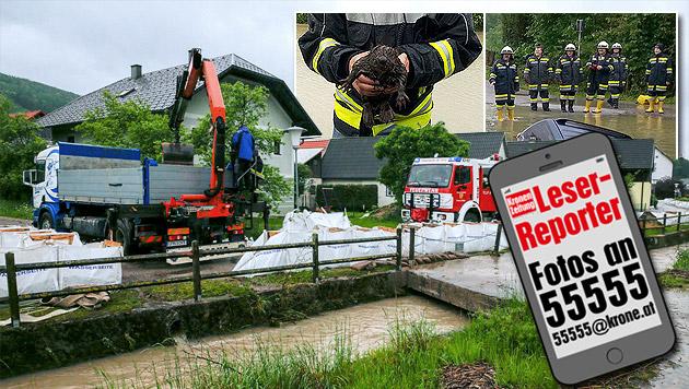 Millionenschaden durch Hochwasser und Schlamm (Bild: APA/BFKDO ST. PÖLTEN, Rainer Handlfinger, krone.at-Grafik)